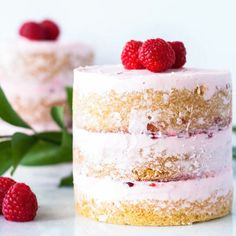 These mini raspberry vanilla mini cakes are layered with a creamy vanilla frosting and raspberry jam. The perfect dessert for two.