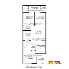 House Plan for 20 Feet by 50 Feet plot (Plot Size 111 Square Yards ...