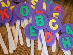 Letter pops: each student gets one and they each say a word that starts with the letter on their pop!