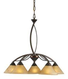ELK Lighting Lighting 7646-5 Five Light Chandelier In Aged Bronze And Tea Swirl Glass