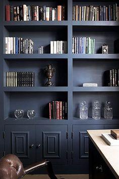 dark blue built in bookcases