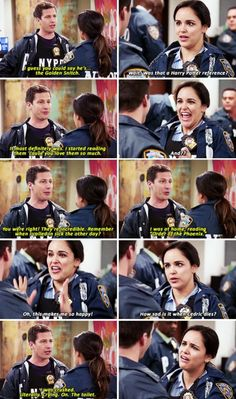 "When Jake read Harry Potter for Amy because LOVE. 19 Times ""Brooklyn Nine-Nine"" Was The Funniest Show On Television Brooklyn Nine Nine Funny, Brooklyn 9 9, Narnia, Gossip Girl, Hunger Games, Harry Potter References, Sherlock, Scary Terry, Jake And Amy"