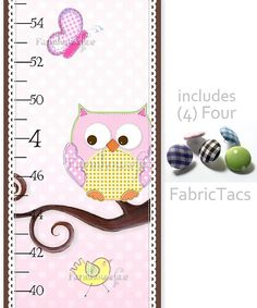 whimsy Love and Nature Owl Canvas Growth Chart by Farmhousefive, $35.00