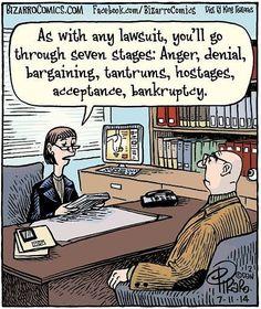 Bizarro Comic Strip for July 2014 Funny Cartoons, Funny Jokes, Funny Texts, 9gag Funny, Memes Humor, Daily Cartoons, Hr Humor, Law School Humor, Lawyer Humor