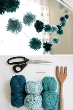 DIY pom pom garland..this would be neat with red, white, and green...and LOTS of Pom poms
