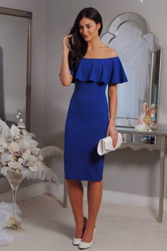 royal blue bodycon dress, off the shoulder, ruffle, occasion wear, wedding guest, races