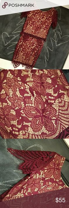 """EXPRESS Lace Crop Top W/ Mini Skirt EXPRESS lace crop top and mini skirt. Lace Overlay Burgundy & Beige lining. Top Size: XS Skirt Size: 2. Fabric: 100% nylon with polyester lining Side zipper Approx 15.5"""" Long. VALENTINE'S DAY MUST HAVE!!!! NWT! 🚭SMOKE FREE HOME Express Other"""