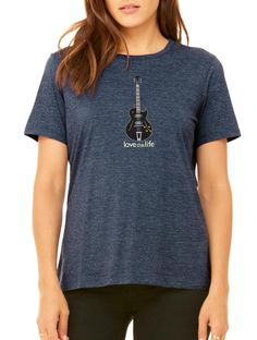 Love This Life Guitar Manifesto Relaxed Tee - Heather Navy