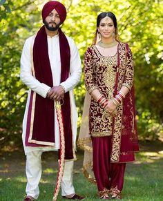 Pinterest: @pawank90 Sikh Wedding Dress, Wedding Suits For Bride, Punjabi Wedding Couple, Couple Wedding Dress, Bride Suit, Lehenga Wedding, Bridal Dresses, Wedding Couples, Wedding Lenghas