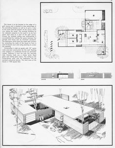 Plans by Richard E. Vintage House Plans, Modern House Plans, Modern House Design, House Floor Plans, Detail Architecture, Architecture Plan, Usonian House, The Plan, How To Plan