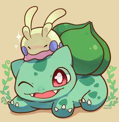 Pokémon Role Playing Game — huiro: Bulbasaur with goomy Pokemon Team, Pokemon Fan Art, Pokemon Bulbasaur, Pikachu, Cute Profile Pictures, Cute Pictures, Chibi, Sketch Inspiration, Kawaii Cute