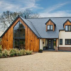 exterior country contemporary house, with cedar cladding, white render and. -Front exterior country contemporary house, with cedar cladding, white render and. - 58 Dream Home Ideas - Home Decorating Ideas and Interior Design House Cladding, Exterior Cladding, Timber Cladding, Stucco Exterior, Facade House, Rendered Houses, Dream House Exterior, House Exteriors, Modern Bungalow Exterior