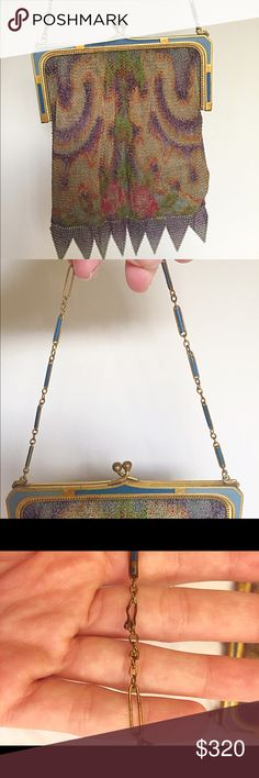Whiting and Davis Watercolor Dresden Bag/mid 1920s This highly coveted and rare Whiting and Davis Dresden bag is EVERYTHING!!! Created in the mid 20s, these mesh purses were made with a colored silk screen process that gave them a surrealistic, water colored appearance. Note the enameled chain links and frame!!! So Art Deco 💙 Condition: in excellent Vintage condition. Normal shattering to lining is present. The mesh is in beautiful condition. The chain has some enamel loss to a few links…