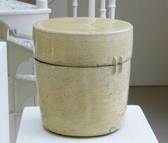 INGER ROKKJAER (1934-2008)27. Light yellow lidded cylinder, 2004, raku, height 25 cm, diam. 22.5 cm