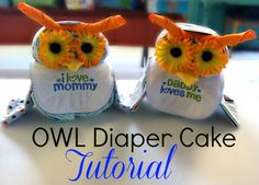 Owl Diaper Cake Tutorial #babyshower #diapercake - Sincerely, Mindy