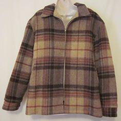 Vintage Woolrich XL Brown Plaid Jacket Coat USA Wool Acrylic Fleece Lining #Woolrich #BasicJacket