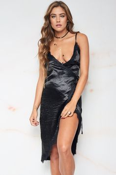 6e8682391b00 Quinn Satin Wrap Dress - Black
