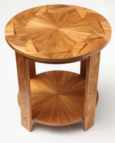 Rare Art Deco Two-Tiered Straw Marquetry Side Table by André Groult