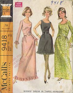 Vintage Cocktail Dress Sewing Pattern 60s McCall 9418 Sz 16 Bust 38 Hip 40 Cut | eBay