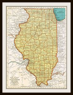 Antique ILLINOIS & INDIANA 1930's Map by KnickofTime