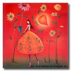 Square card by Mila Marquis por MarquisWonderland en Etsy Illustration Noel, Illustrations, Marie Cardouat, Lulu Shop, Art Carte, Photo Deco, Square Card, Arte Floral, Naive Art