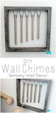 Learn how to make your own wall chimes with this DIY Wind Chimes Tutorial. These chimes are a great sensory, interactive wall decoration. Music Instruments Diy, Instrument Craft, Homemade Instruments, Sensory Wall, Sensory Rooms, Sensory Boards, Sensory Activities, Sensory Tubs, Sensory Bottles