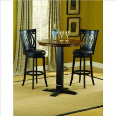 """Hillsdale Furniture 4975PTBBLKS2VD Dynamic Designs Pub Set, Black by Hillsdale Furniture. $485.97. 36"""" diameter table. 30"""" seat height. Black Base. Black Vinyl Cushions. Two-Toned Finish. Finish:Black/Brown Cherry, Chair Quantity:2 Chairs Who says fabulous designer looks come only at designer prices? The Hillsdale Furniture Dynamic Designs bistro collection offers any home owner the opportunity to add style to their homes without breaking the bank. The two-ton..."""
