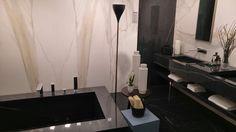 Black & White bathroom by Florim. Ceramic can be so glam!  Pav. 15.  #MCaroundCersaie