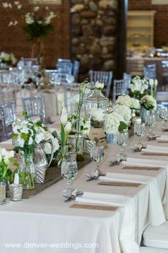 vintage wedding centerpieces with wood plank table runner, green and white wedding colors