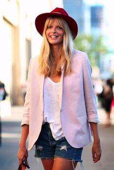 summer look book. love the pink blush colored blazer with white loose T and blue jean shorts