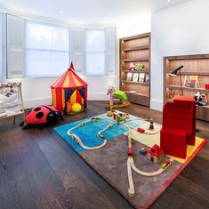 This natural wenge wood floor looks great in this playroom Wenge Wood, Wide Plank Flooring, Playroom, Kids Rugs, Childrens Rooms, Pattern, Wood Floor, Interiors, Home Decor