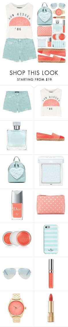 """""""Back to School- Mint and Coral"""" by xxfashiongirl12xx ❤ liked on Polyvore featuring J Brand, Topshop, Azzaro, Tory Burch, T-shirt & Jeans, RMK, Christian Dior, Shiraleah, Clinique and Kate Spade"""