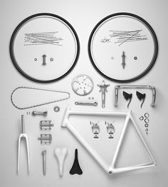 Exploded view of a bicycle.