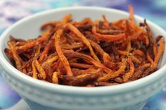 Carrot Straws - can be baked or dehydrated for food storage