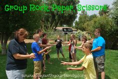 Group Rock, Paper, Scissors.  Such a blast for a family reunion, family night, or a youth activity!  Two ways to play!  www.playwithyourfamily.com