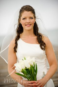 snowy bride, white tulips bouquet   © photographybymonique.com