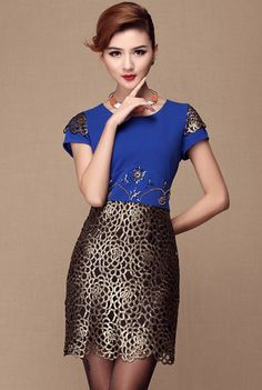 Blue Short Sleeve Embroidery Rhinestone Dress