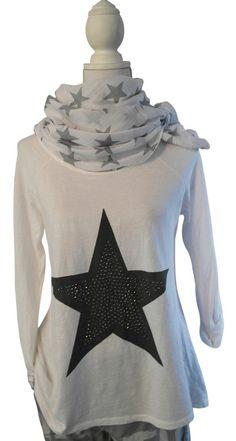 Impressionen Longshirt Shirt weiss weiß Stern grau Nieten silber T-Shirt 38 40