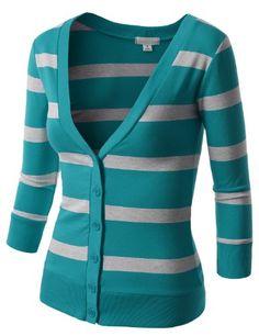 J.TOMSON Womens Striped V-Neck Button Down Cardigan SMALL JADE HGRAY J.TOMSON http://www.amazon.com/dp/B00JX9D44I/ref=cm_sw_r_pi_dp_mhCTtb010APVJMKE