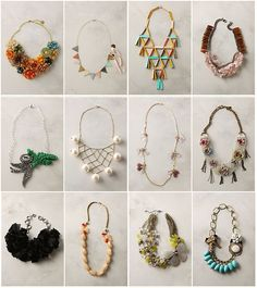 Anthropologie necklaces (no longer for sale, unfortunately, but some of them would make awesome DIY projects