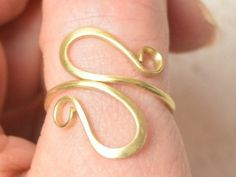 #BrassWireRing, #ThumbRing, #GoldColorRing, #Hammered #Ringa