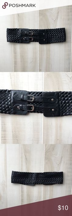 Black Braided Belt with Double Buckle Braided black pleather belt with double buckle. Super cute worn high with a dress, skirt/top. Worn a handful of times. Unknown Accessories Belts