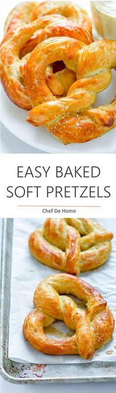 <Easy Homemade Soft Pretzels - Homemade soft pretzels with the same pretzel-shop . Easy Homemade Soft Pretzels – Homemade soft pretzels with the same pretzel-shop like aroma, soft texture and flavor. and only a few simple pantry ingredients. Homemade Soft Pretzels, Pretzels Recipe, Easy Homemade Desserts, Baked Pretzels, Homemade Biscuits, Homemade Recipe, Homemade Vanilla, Appetizer Recipes, Snack Recipes