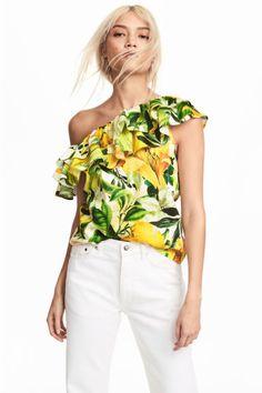 Blusa de un solo hombro - Blanco/Estampado amarillo - MUJER | H&M ES