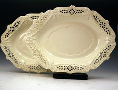 Antique English pottery creamware reticulated border dishes 18thc -