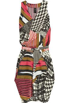 I love how this dress takes classic patterns and combines them #plaid #houndstooth #stripes