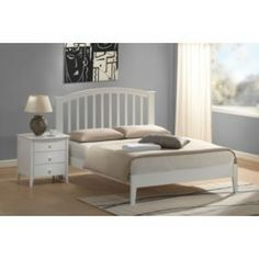 Laana White Wooden Bed Frame only Single Wooden Beds, Wooden King Size Bed, White Wooden Bed, Bed Frames Uk, Wooden Bed Frames, Beds Direct, White Bedroom Furniture, Buy Bed
