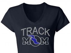 Curved Track Mom Rhinestone Bling T-Shirt - Sparkles N Bling