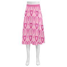 Pink Heartbeat Mnemosyne Women's Crepe Skirt(Model D16)