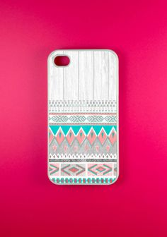 Aztec Iphone 4 Case - Aztec on White Wood Iphone Case, Iphone 4s Case. $14.99, via Etsy.